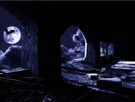 lighted: lighted up with light of moon ruins Stock Photo