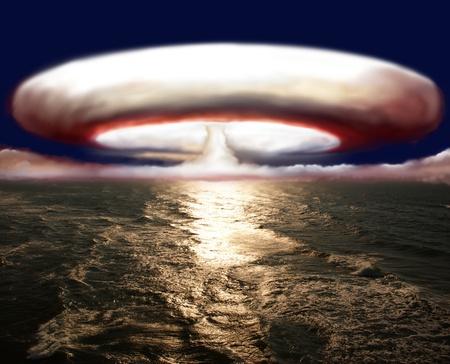 bombe atomique: explosion de la bombe nucl�aire sur mer