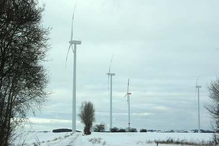 wind turbine on sky background photo