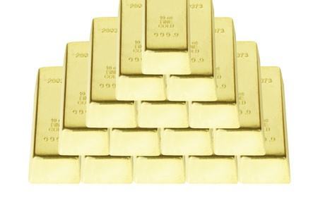 the pyramid from bars of gold on white background photo