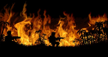 burning man: burning forest on fire background Stock Photo