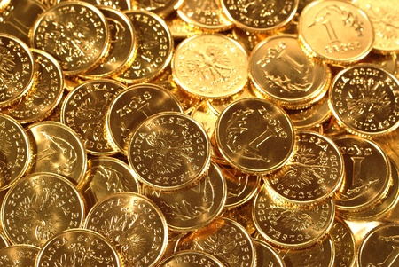 golden coins: background with gold of coins Stock Photo