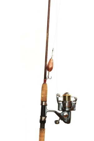 fishing bait: fishing-rod with spinning-wheel on white background