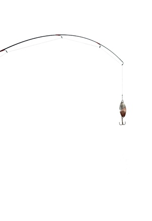 hand line fishing: fishing-rod on a white background