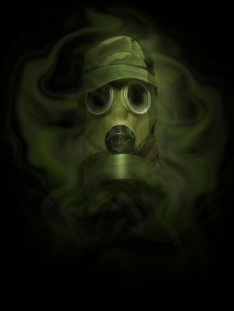 gasmask: the man in anti-gas mask in vapours of gas
