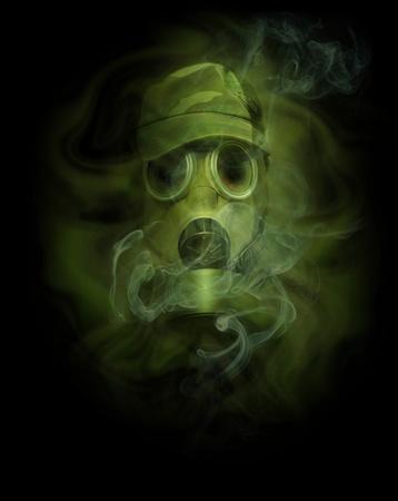 gasmask: l'uomo in maschera anti-gas in vapori di gas