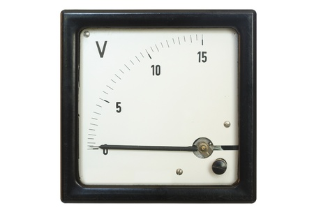 old voltmeter on a white background photo