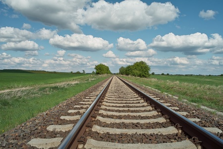 railway tracks on background of scenery Stock Photo