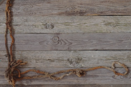 backgrouns with old gnarled boards and line Stock Photo - 9875570