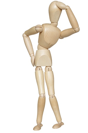 artists mannequin:  wooden dummy on white background
