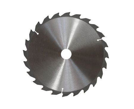 metal toothed disc saw on white background photo