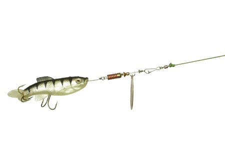 gum and metal angling bait on white background photo