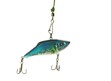 rapala: blue  wobbler for fishing on white background