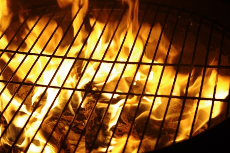 cookout: the fragment of grill in night from flames Stock Photo