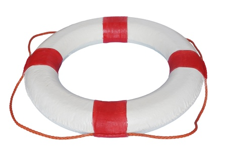 red and white rescue wheel on a white background Stock Photo