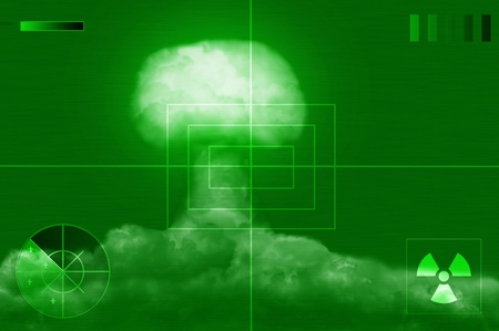 explosion of great nuclear bomb on screen of noctovisor Stock Photo - 10725538