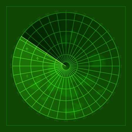 green screen of radar with airplanes Stock Photo - 10725537