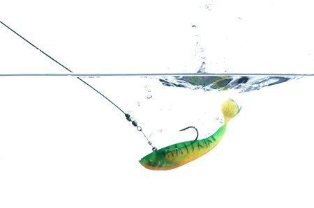 artificial angling falling to water bait