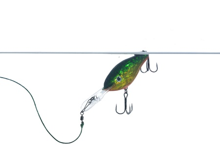 rapala:  wobbler for fishing in water on white background