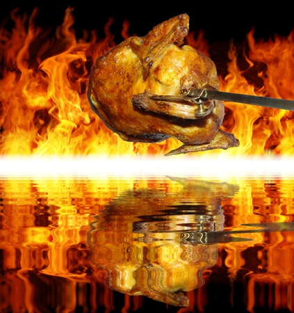 roasting:  chicken on grill on background of flames