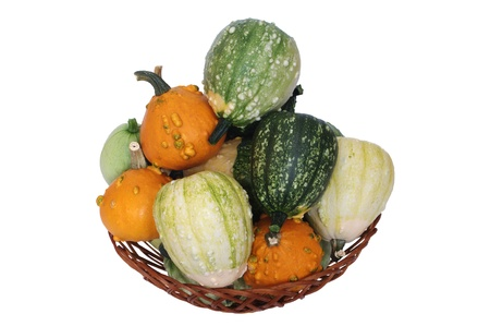 pumpkin in basket on white background photo