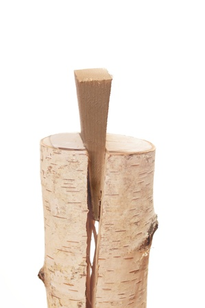 splitting: froth on white background wooden splitting wedge