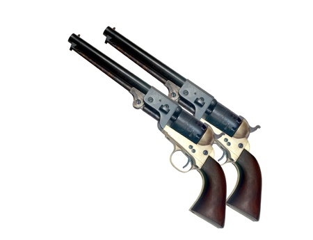 violence and trigger: two identical old metal colt revolver on white background Stock Photo
