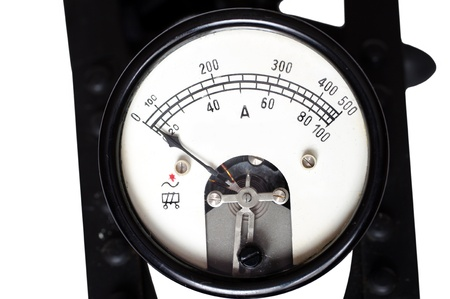 ammeter: old ammeter on a white background Stock Photo