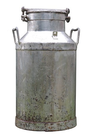 big old metal can on milk on white background
