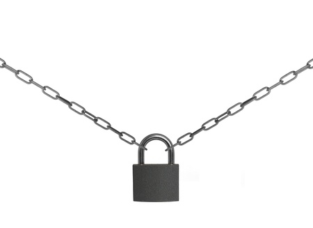 padlock with chain on white background photo