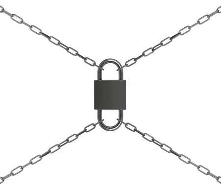 double padlock with chain on white background photo