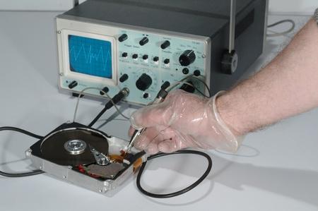 oscilloscope: test del disco vicino oscilloscopio uso Archivio Fotografico