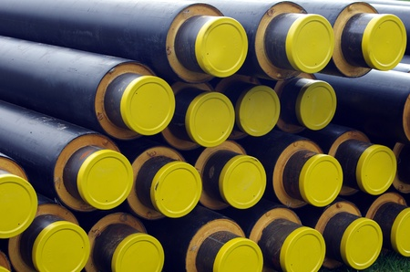 arranged on heap plastic pipes photo