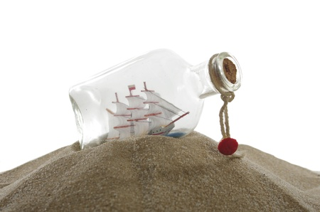 sailcloth ship in closed with cork bottle Stock Photo - 13324954
