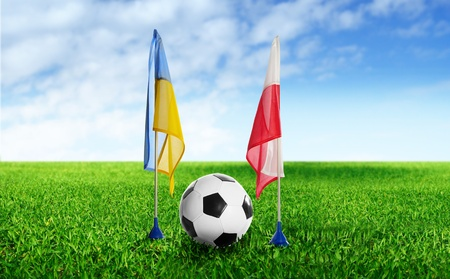 two flag and  football on grass photo