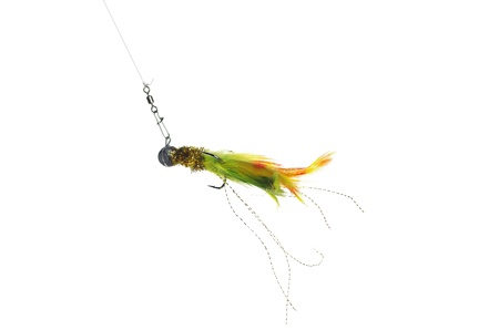 artificial pendant on thin line on white background fly photo