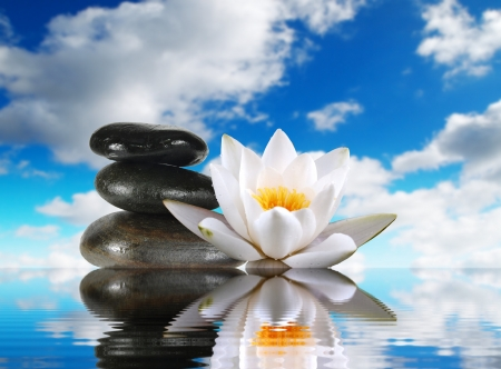 zen like: three stones and lily in water on sky background Stock Photo