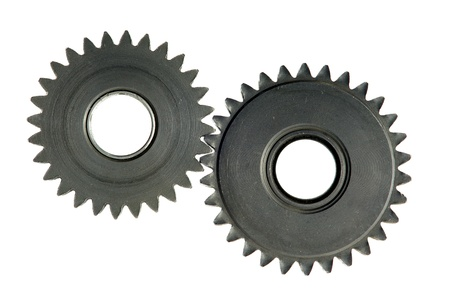cog wheels: mechanism with cog-wheels on white background