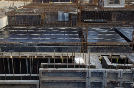 foundation of building with steel armature photo