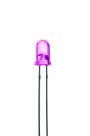 diode: violet diode on white background Stock Photo