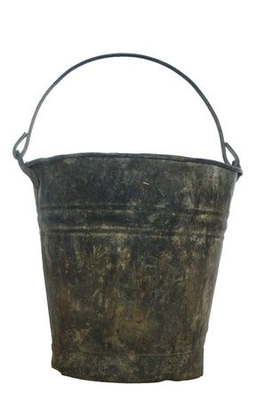 old metal pail on white background