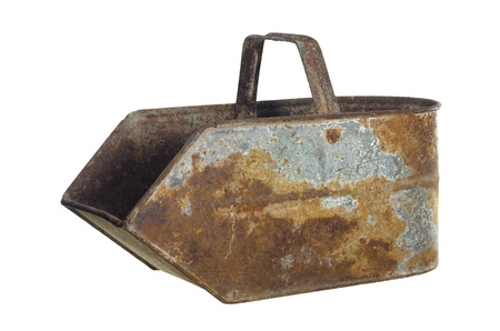 dredging tools: old bucket on carbon on white background