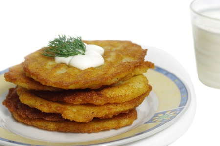 potato pancakes on a plate isolated on white background  photo