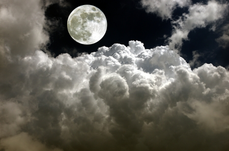 moon fully on background of clouds