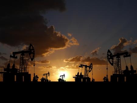 Illustration of oilfield with pump on sunset background illustration