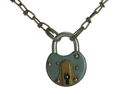 padlock with chain on white backgrond photo