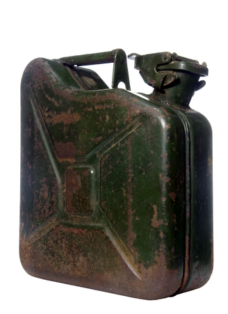 Canister: old rusty green canister
