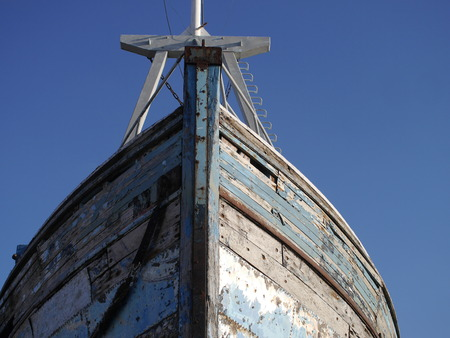 ship bow: old wooden ship bow from the bottom