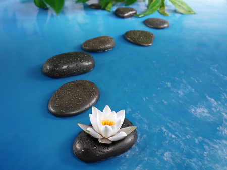 zen stones in blue water with lily
