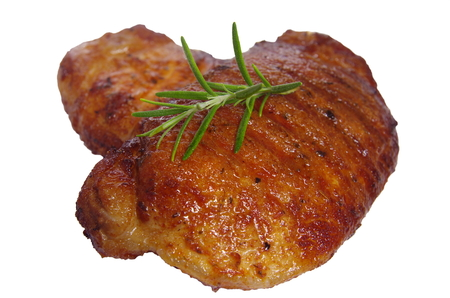 horseflesh: rare fry steak on a white  Stock Photo